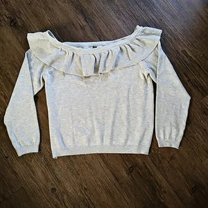 NWT H&M Off The Shoulder Ruffle Sweater